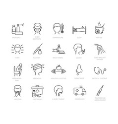 large collection flu and medical icons vector image