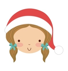 Little cute girl with winter clothes isolated icon vector