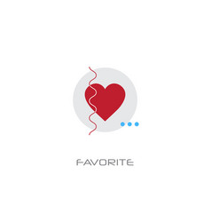 love red heart symbol add to favorite concept line vector image