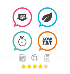Low fat icons diets and vegetarian food signs vector
