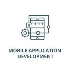 mobile application development line icon vector image