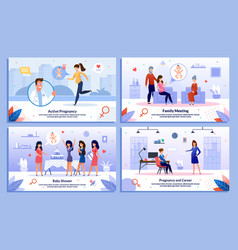 modern pregnant woman life posters set vector image
