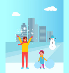 Mother and daughter in city vector