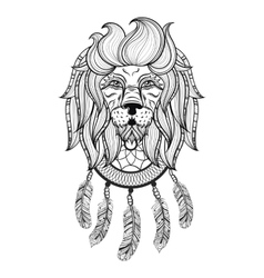 ornamental Lion with dreamcatcher ethnic vector image