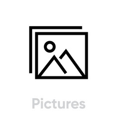 pictures icon editable outline vector image