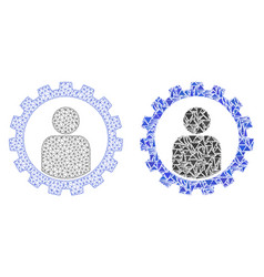 Polygonal 2d mesh customer setup gear and mosaic vector