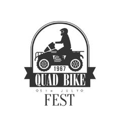 Quad bike fest label design black and white vector
