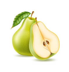 Realistic green ripe pear healthy food vector