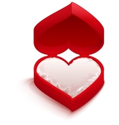 Red open box heart shape vector