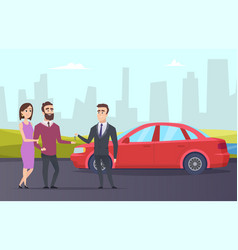 rent car couple rents a car from rental agent vector image