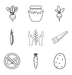 rootstock icons set outline style vector image