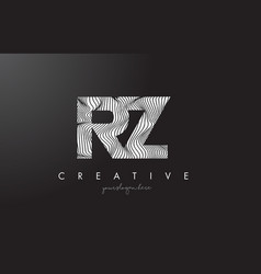 rz r z letter logo with zebra lines texture vector image