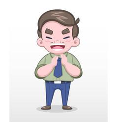salaryman clapping cheerfully vector image