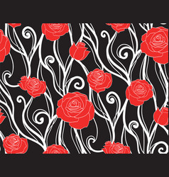 seamless texture with roses and vines on a dark vector image