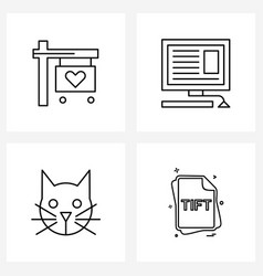 Set 4 line icon signs and symbols affection vector
