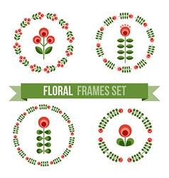 set design elements - round floral frames vector image