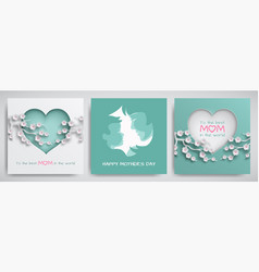 Set of greeting card for mothers day vector