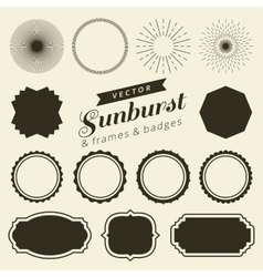 Set of vintage line frames and labels with vector
