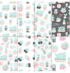 set seamless patterns with cactuses vector image