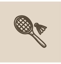 Shuttlecock and badminton racket sketch icon vector