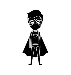 silhouette black full body standing superhero man vector image