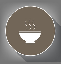 soup sign white icon on brown circle with vector image