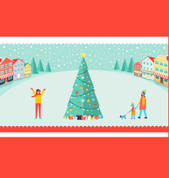 spacious town square with tall christmas tree vector image