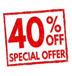 special offer 40 off grunge rubber stamp vector image