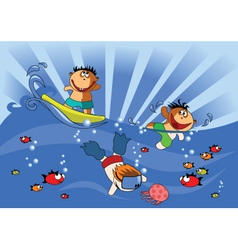 Swimming kids vector