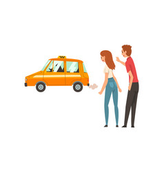 taxi service couple waving catching car on street vector image