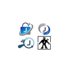 Technology application j template set vector