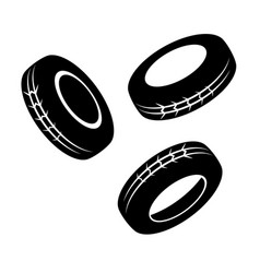 Three black tires vector