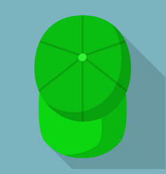 Top view green baseball cap icon flat style vector