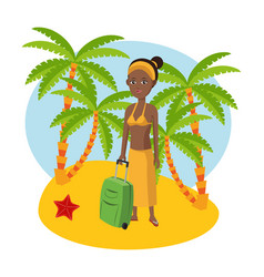 tourist in the beach vector image