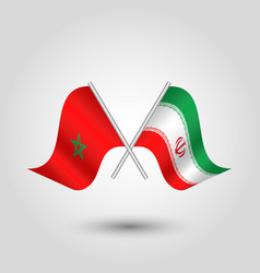 Two crossed moroccan and iranian flags on silver vector