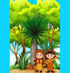 Two kids in traditional clothes in garden vector