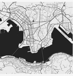 Urban city map hong kong poster grayscale vector