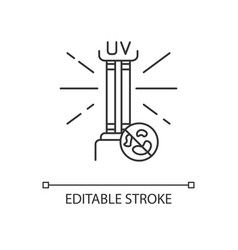 Uv light disinfection pixel perfect linear icon vector