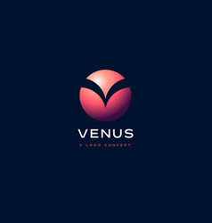 venus planet emblem v monogram vector image