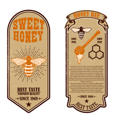 vintage natural honey flyer templates design vector image