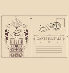 vintage postcard with notre dame de paris vector image