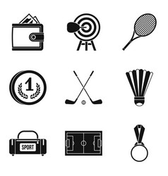 will to win icons set simple style vector image