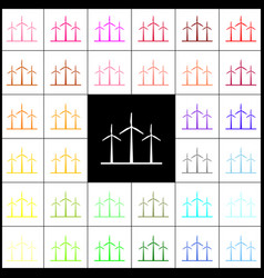 Wind turbines sign felt-pen 33 colorful vector