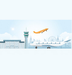 Winter at airport with snowfall vector
