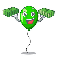 With money green ballon with cartoon ribbons vector