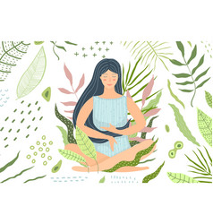 woman meditation in nature green background vector image