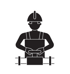 worker spinning the valve black concept vector image