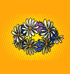 wreath of wild flowers chamomile vector image