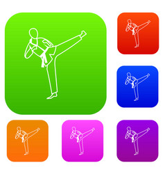Wushu master set collection vector