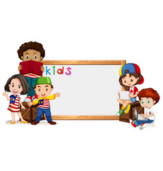 border template with many kids vector image vector image